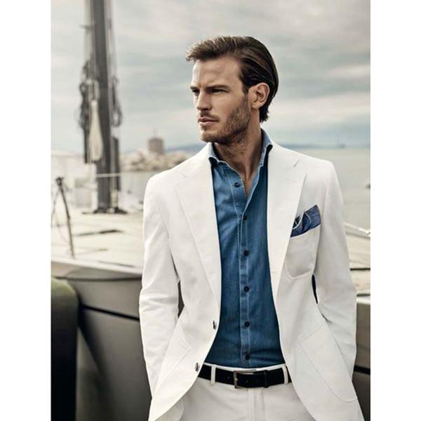 Custom Made New ivory Mens Suits Groomsmen Shawl Lapel Groom Tuxedos One Button men Wedding Best Man Suit (Jacket+Pants)
