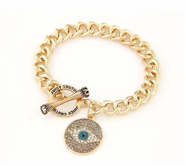Gros-Marque Or Evil Eye Charme Bracelet Strass Dames Or Bracelets Femmes Hommes Mode Bijoux Bijoux Pulsera Mujer Cadeau PD26