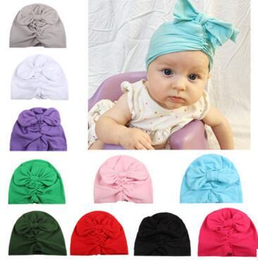 10 colour Kids Bow Bunny Ears knot pullover Hats Children multicolor India Hats Girls Boy Fashion Hair Solid Color Hats 51611