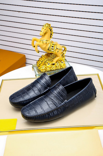 2018 Luxury New Mens Loafers Party100% Real Cow Leather Stripe Dress Walking Wedding Shoes Size 38-45