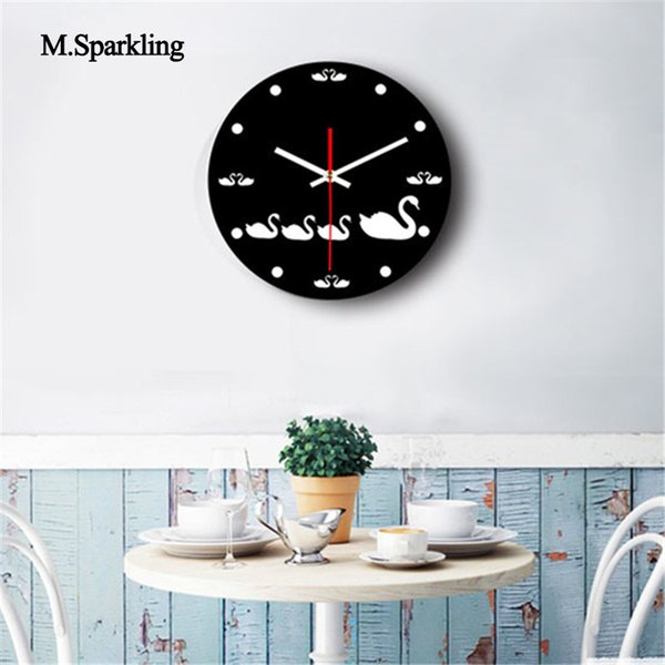 M.Sparkling Decorative Wall Clock Cat And Swan Design Creative Wall Clock  Acrylic Living Room