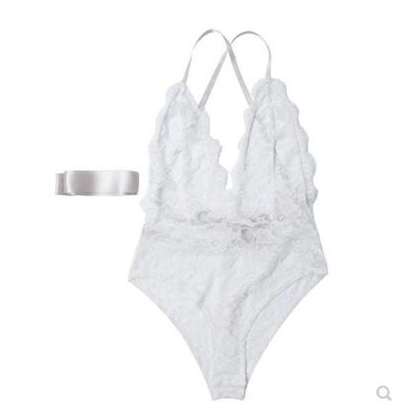 Señora sexy encaje transparente V cuello Cruz Lacing color puro combinado ropa interior sexy ropa interior