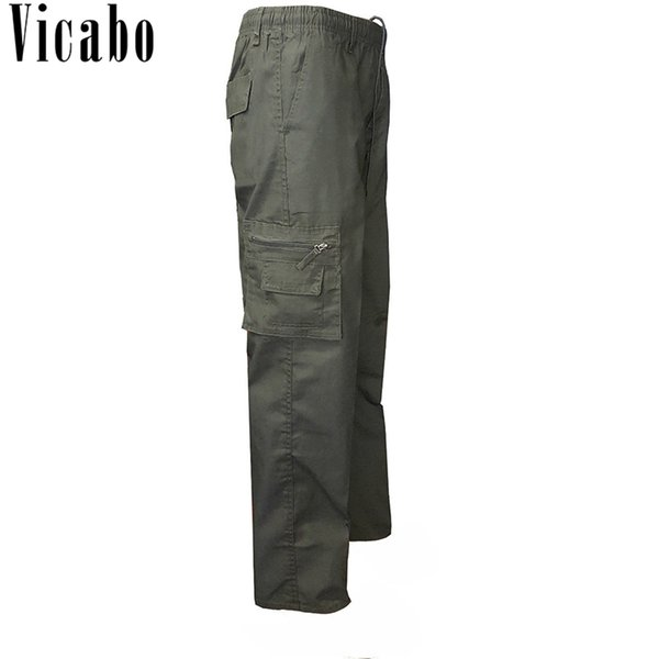 Vicabo Male Clothes Slim Tactical Pants Casual Solid Cargo Pants Men Straight Track Pants Outerwear  Army Trousers 3XL