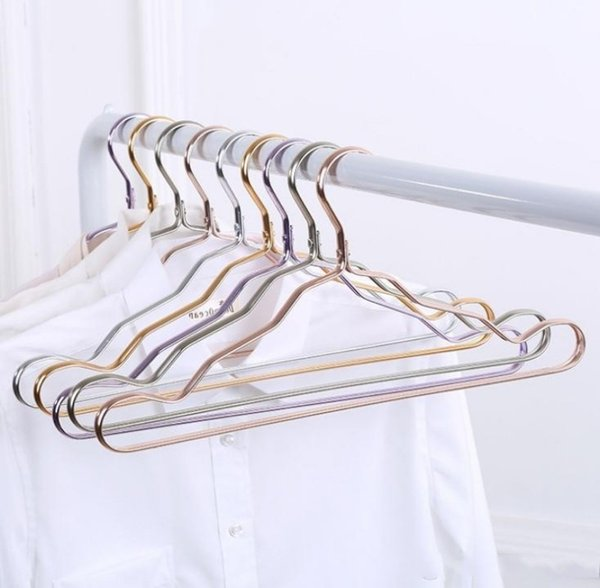 42cm Gold Aluminum Alloy Hanger for Clothes Strong 5 Colors Rose Gold Metal Shirts Dress Sun-top Hanger Free Shipping