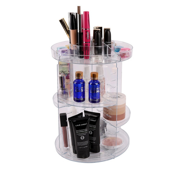 360-degree Rotating Makeup Organizer Box Brush Holder Jewelry Organizer Case Jewelry Makeup Cosmetic Storage Box kit