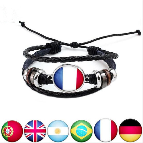 top popular 2018 Football World Cup National Flags Charm Bracelet Bangles Leather Braided Rope Bracelet Beads Wristband Cuff Women Men Gift 2021