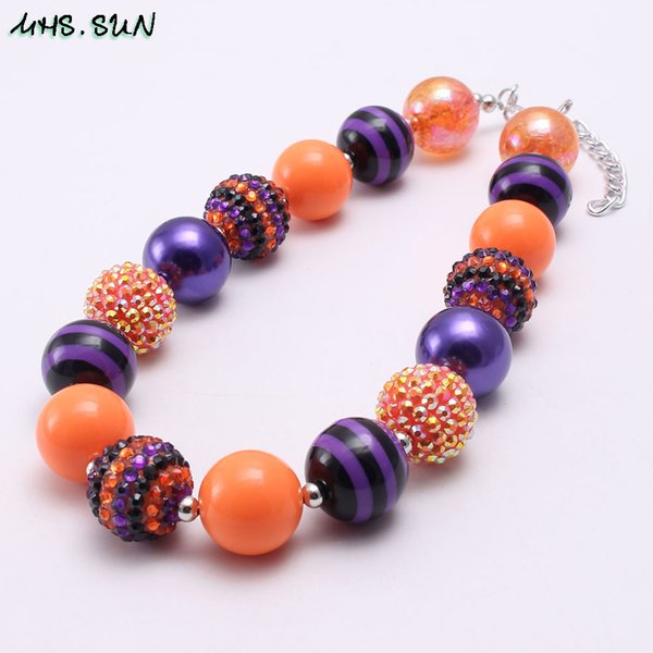 Newest Black Orange Color Halloween Kid Chunky Necklace Fashion Bubblegum Bead Chunky Necklace Children Jewelry For Toddler Girls