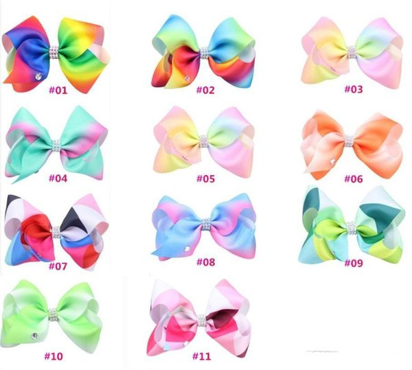Rainbow color gradient ribbons with children bowknot with row drill hot extra large diamond children hair ornaments b943
