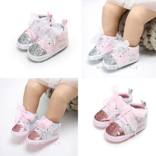 2018 New Fashion Toddler Sequin Crown First Walker Princess Baby Girl Soft Sole Crib Canvas Cross Tied Shoes Prewalkers