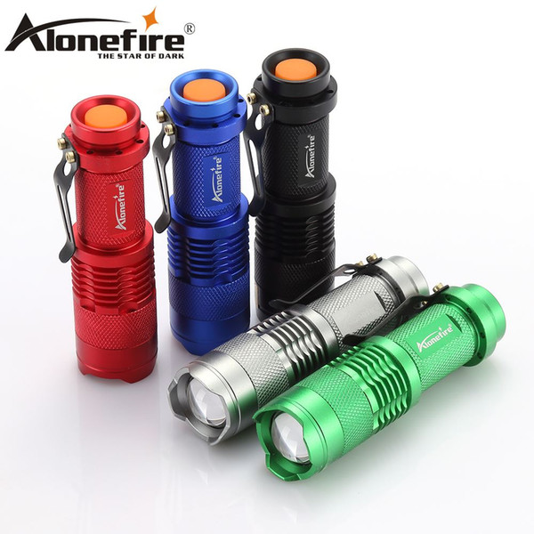 Alonefire SK68 CREE XPE Q5 lanterna 3Modes LED Flashlight Zoomable mini portable Tactical torch zaklamp for Camping Use AA/14500 battery