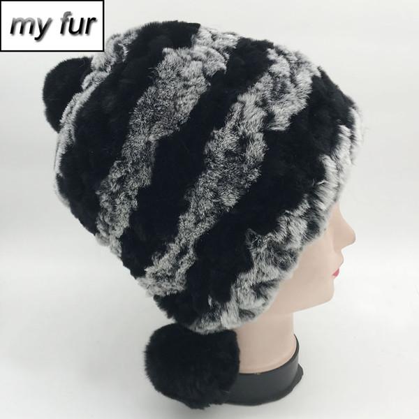 New Luxury Winter Women Real Rex Rabbit Fur Skullies Hat Warm Soft Three Pompoms 100% Genuine Fur Hats Lady Knit Beanies Cap