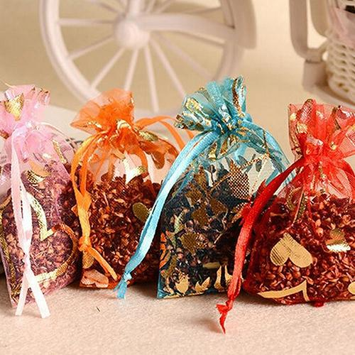 100pcs/lot Wedding Christmas Gift Bag Jewelry Packaging Bags Pouches Drawable Heart Flower Small Organza Bags Favor