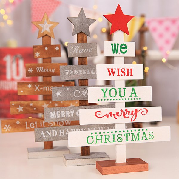 Mini Wooden Merry Christmas Tree Table Decor Pendants Xmas Tree Ornaments Christmas Decoration Happy New Year Home Decor Gifts