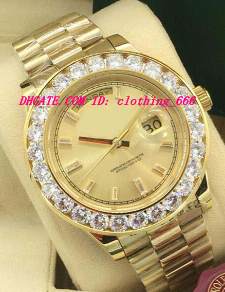 New Style Luxury Watches 2 Style Bigger Diamond Bezel Mens 228238 18k Yellow Gold Diamond Dial 44mm Automatic Fashion Men's Watch Wristwatch