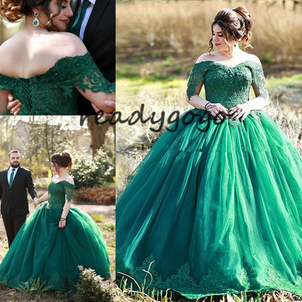Elegant Dark Green Ball Gown Quinceanera Dresses Off The Shoulder Appliques Tulle Floor Length Plus Size Prom Dresses Evening Gowns Lace Up