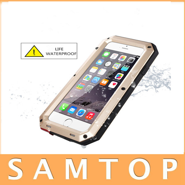 Luxury Doom Armor Shockproof Dropproof Rain-Waterproof Metal Case for IPhone 7 6S 6 6S Plus/ 5S SE with Gorilla Glass Aluminum Cover