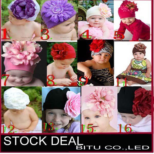 Wholesale-12pcs / lot Mi12 tarzı Moda Büyük çiçek Pamuk çocuk bebek şapkaları B053