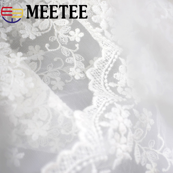 Meetee Net Wed Lace 15 Yards Trim Sewing Embroidery Curtain Doll Chiffon Fabric Wedding Dress Decoration Garment Accessories Diy Craft