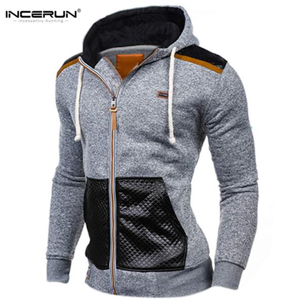 Winter Autumn Sporting Hoodies Men Slim Fit Sweatshirt Pullover Long Sleeve Casual Zipper Jacket Hoody Coat Leather Patchwork