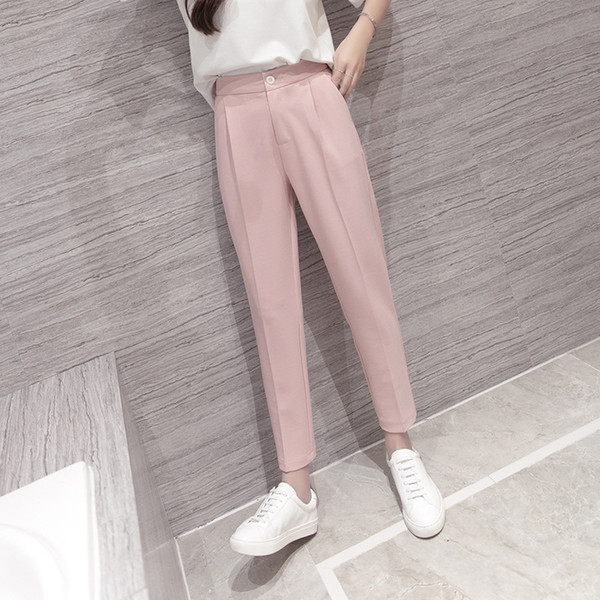 High Waist Pink Black Harem Pants Women 2018 Summer Autumn Casual Plus Size 3xl Slim Ol Work Chiffon Trousers Pantalon Femme S18101605