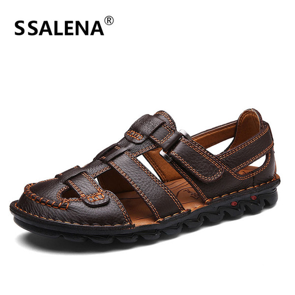Hombres Retro Sandalias de Gladiador Masculino Transpirable de Cuero Suave Sandalias de Verano Hombres Pescador Recortable Zapatos Casuales AA51631