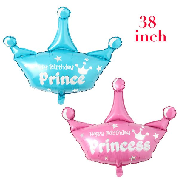 Huge helium Princess Crown Foil Balloon Pink Blue balloons birthday party decorations kids globos toy balloon