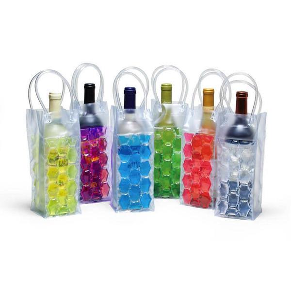 750ML PVC Double-sided Wine Bottle Freezer Bag Chilling Cooler Ice Bag Portable Beer Cooling Gel Holder Carrier BH261