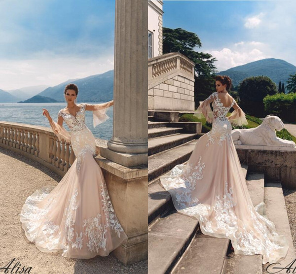Glamorous Champagne Mermaid Wedding Dresses Illusion Sleeve Lace Appliques Tulle Long Bridal Gowns Sweep Train Custom Made