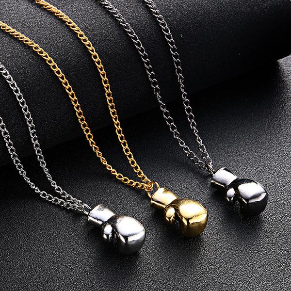 Boxhandschuh Halskette Sportgeräte Gold Silber Boxhandschuh Anhänger Kette Hip Hop Schmuck für Männer Frauen Drop Shipping