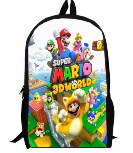 16 Inch Cartoon Super Mario Bros Sonic Kids Backpack Boys Girls School Bags Daily Children Bookbag Shoulder Backpacks