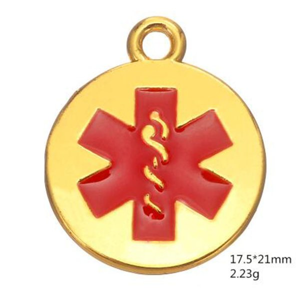 Antique Silver and Gold Color Medical Alert Caduceus Charms Red Enamel Star of Life Engraved Pendant