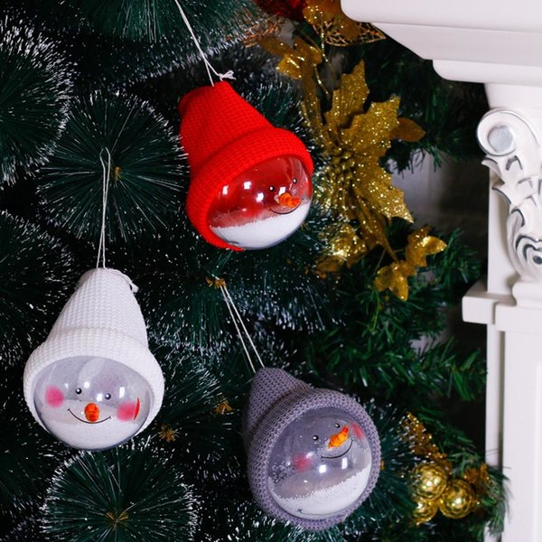 Transparent Ball With Cap Christmas Ornaments Cute Snow Ball Christmas Tree Decorations Hanging Snowman Ball Kerst Decoratie
