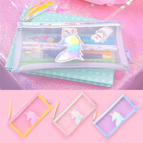 3 cores Unicorn laser Pen Bag Pencil Titular saco de Armazenamento de crianças presente unicórnio bolsa de maquiagem Cosmética bolsa de viagem T1D005