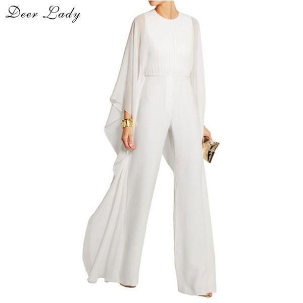 Deer Lady Summer Jumpsuits Women 2017 White EleJumpsuit Long Sleeve With Wide Legs Long Cape Jumpsuit Bodysuit Mesh