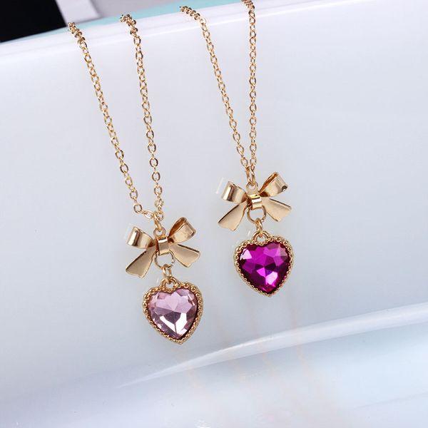 whole saleFashion Cute Bowknot Rhinestone Heart Pendant Women Chain Necklace Accessories Soft Bow Series Glass Gem Necklaces & Pendants