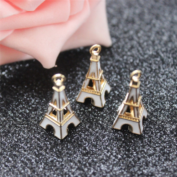 30PCS/Lot Gold Color White Enameled Alloy Eiffel Tower Charms Handmade Pendant DIY Trendy Earrings Necklace Jewelry Findings
