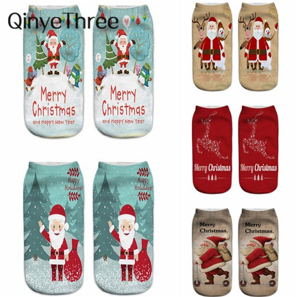2018 New hot 3Dpriti Christmas Socks Unisex Cartoon Elk Snowman Santa Socks Women Low Cut Ankle Christmas Calcetines Mujer