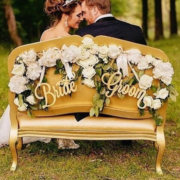 Bride And Groom Wooden Vintage Wedding Decoration Supplies Chair Back English LetterS Decor Sign Wedding Photo Studio Decorative Props