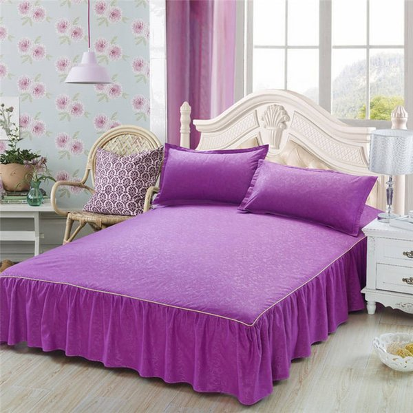 High Quality Solid Color Bed Skirt Non-slip Protective Cover Delicate Edging Bed Cover Sheets