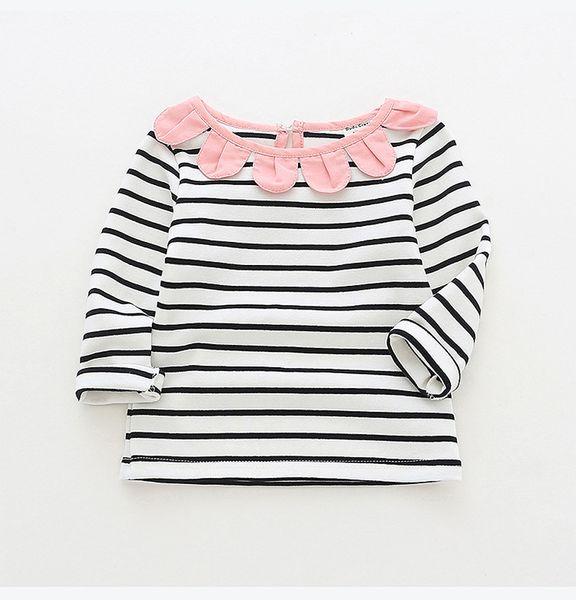girl kids clothing long sleeved T shirt stripped sunflower round collar design girl clothing shirt 100% cotton girl shirts