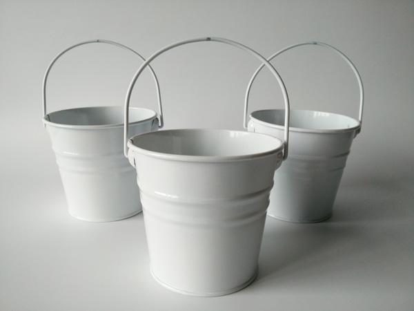 10Pcs/Lot D10.5xH9.5CM Metal Planter Iron Buckets Pots Wedding Tin Pails White Flower Tub For Wedding Decoration