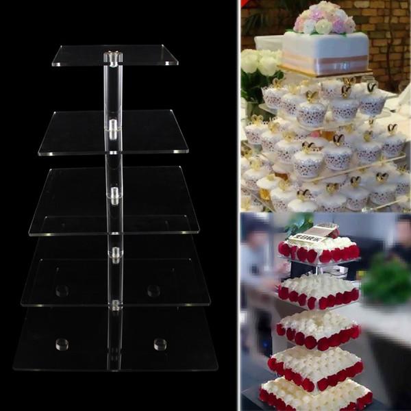 Nouveau Stand pour Cupcakes 5 Tier Gâteau Stands Clair Acrylique Carré Cupcake Stand pour Mariage Fête D'anniversaire Affichage De Gâteau Décoration