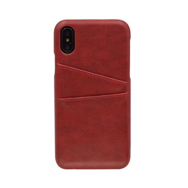 The new for iphone X fashion simple style portable card back cover type imitation leather case