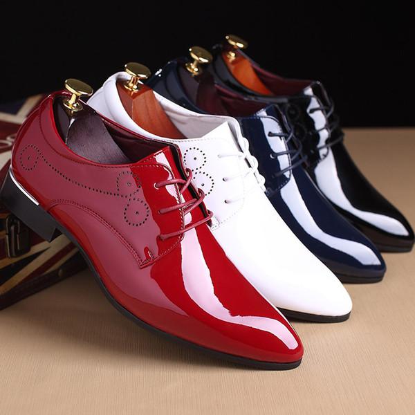 Plus la taille 38-48 Hommes Chaussures Habillées En Cuir Verni De Luxe De Mode Marié Chaussures De Fête De Mariage Hommes Oxford Derby Chaussures