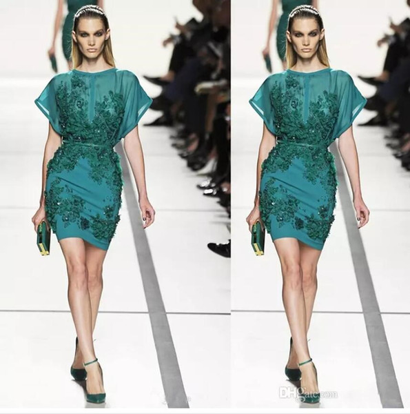 2019 Elie Saab Evening Dresses Sheath Sheer Neck Beads Sequins Green Color Prom Gowns Personalized Short Cheap Party Dress