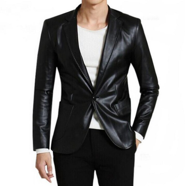 Stylish Men Casual Pu Faux Leather Soft Slim Single Breasted Suits Jacket Blazer
