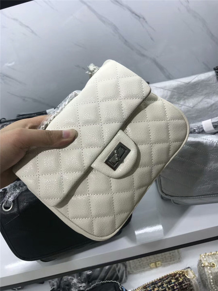 Caviar leather fashion handbags classic style cross body bag women White Deep Blue Khaki Burgundy Black shoulder bags 20cm
