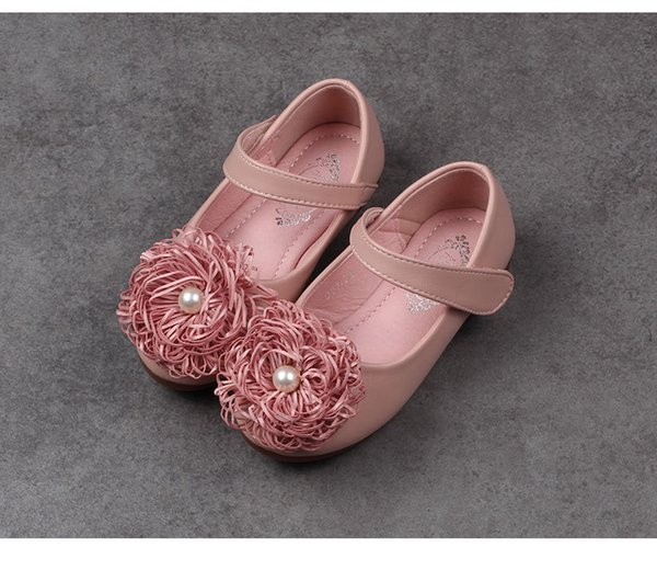 1 to 6 years baby Girls fall flower pears shoes, kids spring/autumn children boutique fashion leather wear, Beige/Pink, RETAIL, R1AS503-49