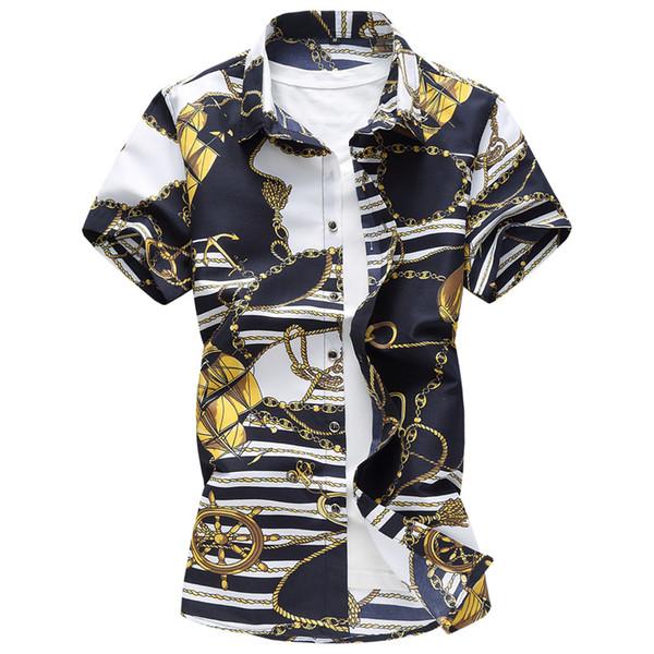 M-7XL 2018 Summer Men's plus Size Shirt ,Nightclub Men's Host Flower Shirt , High-quality brand short sleeved shirts men dress