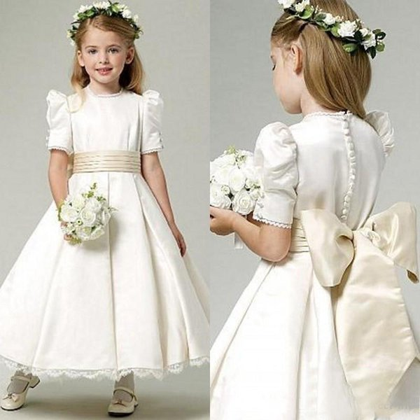 2018 A-line Satin Flower Girls Dresses for Weddings Jewel Neck Short Sleeves With Sash Bow Buttons Back Ruched First Communion Dress